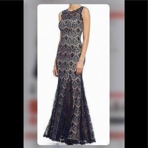 Formal Dress Size 10 Navy Floral Lace Betsy Adam